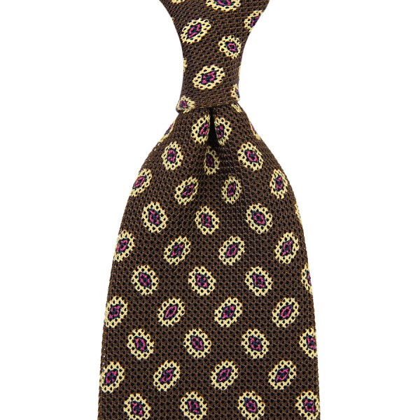 Medallion Printed Silk / Cotton Grenadine Tie - Chocolate