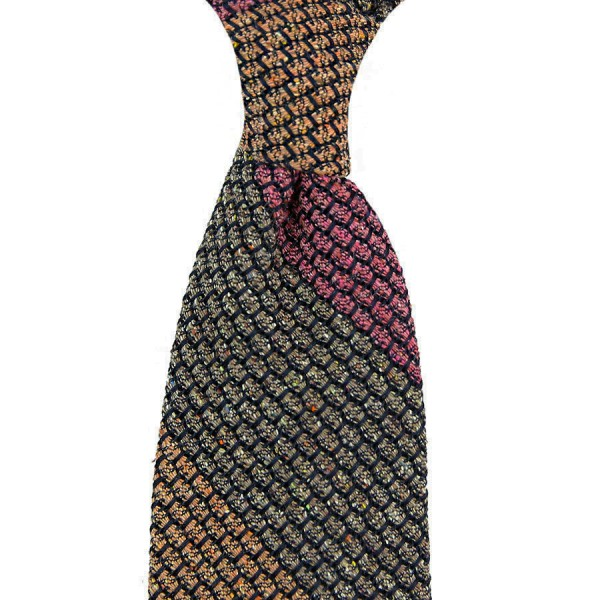 Striped Wool / Silk Donegal Grenadine Tie - Moss / Cherry / Brown
