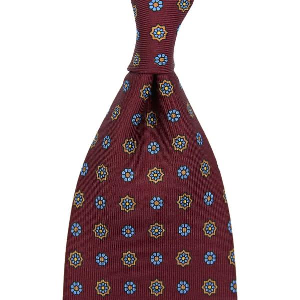Floral Printed Silk Tie - Burgundy VII - Handrolled