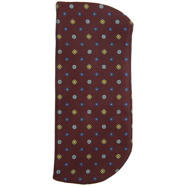 Floral Printed Silk Glasses Case - Burgundy II