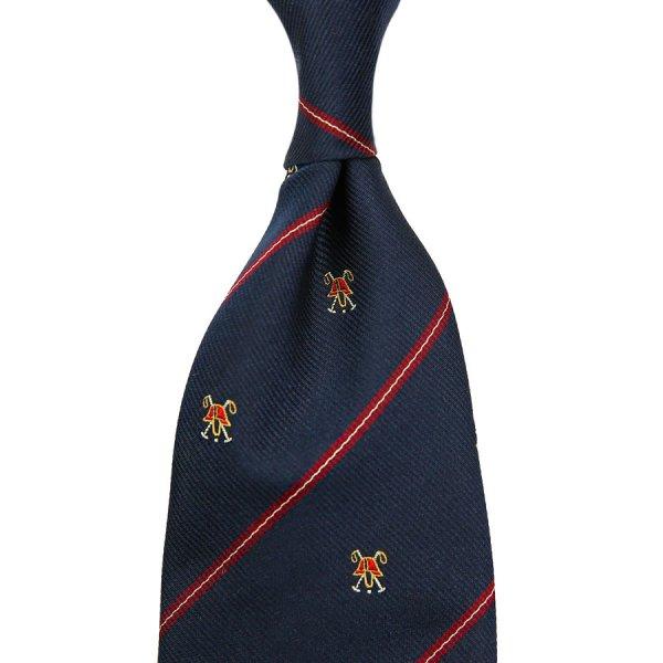 Crest Repp Silk Tie - Navy - Hand-Rolled