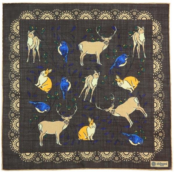 Animal Printed Wool / Silk Pocket Square - Espresso - 40x40cm