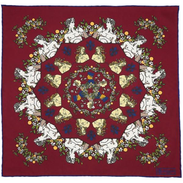Davide Silk Pocket Square - Burgundy - 40 x 40cm