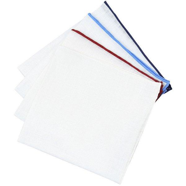 4x Irish Linen Pocket Square Set - Colors Selectable