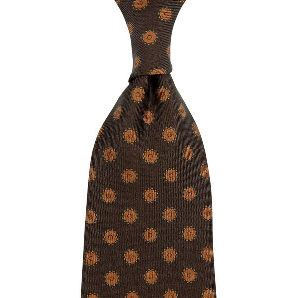 Shadow Printed Silk Tie - Chocolate - Handrolled