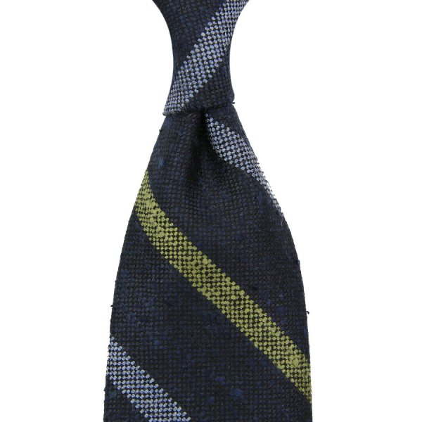 Regimental Striped Wool Tie - Navy - Hand-Rolled