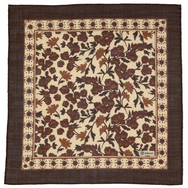 Floral Printed Wool Pocket Square - Brown - Handrolled - 40 x 40cm