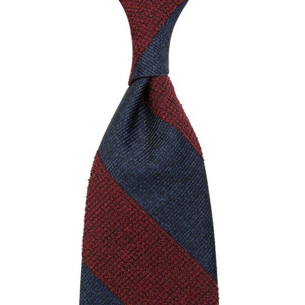 Boucle / Repp Stripe Silk Tie - Navy / Burgundy - Hand-Rolled