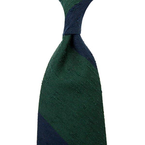 Block Stripe Shantung Silk Tie - Navy / Forest - Hand-Rolled