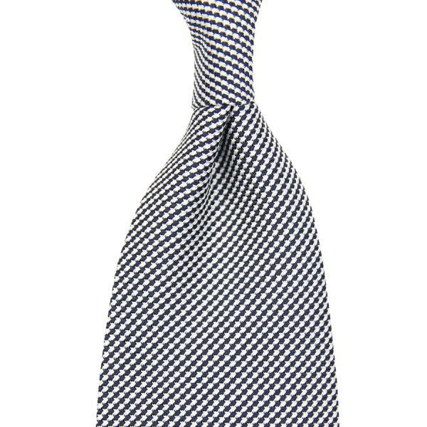 Houndstooth Silk Tie - Navy / White - Handrolled - 140cm