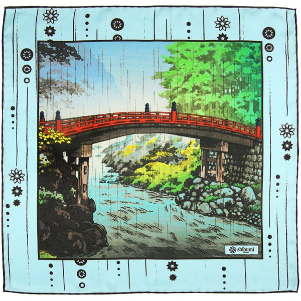 Ukiyo-e Silk Pocket Square - Namida Ame - 40x40cm