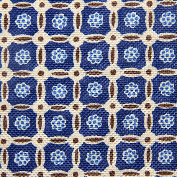 Floral Printed Panama Silk Bespoke Tie - Blue