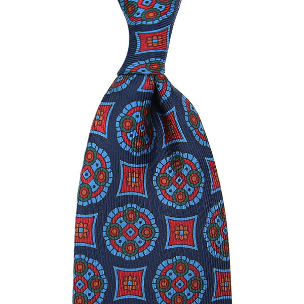 Ancient Madder Silk Tie - Navy - Handrolled
