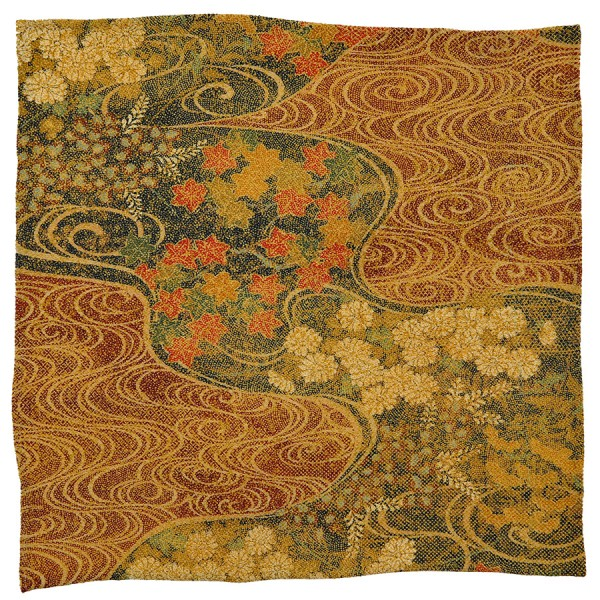 Vintage Kimono Silk Pocket Square - Gold - Handrolled