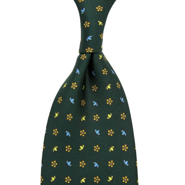 Floral Printed Silk Tie - Madder Green IV - Hand-Rolled