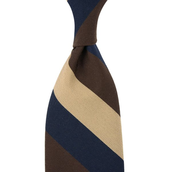 Mogador Block Stripe Silk / Cotton Tie - Navy / Brown / Beige