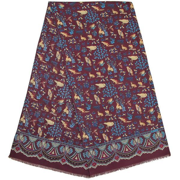Animal Printed Wool Scarf - Burgundy