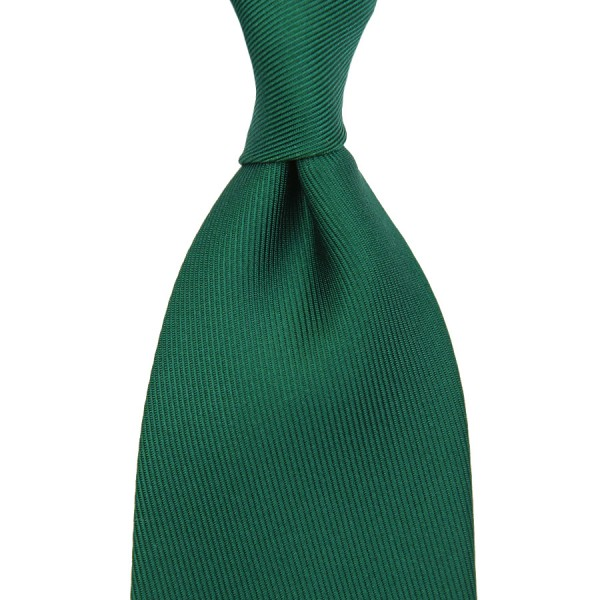 50oz Plain Dyed Silk Tie - Forest Green - Handrolled