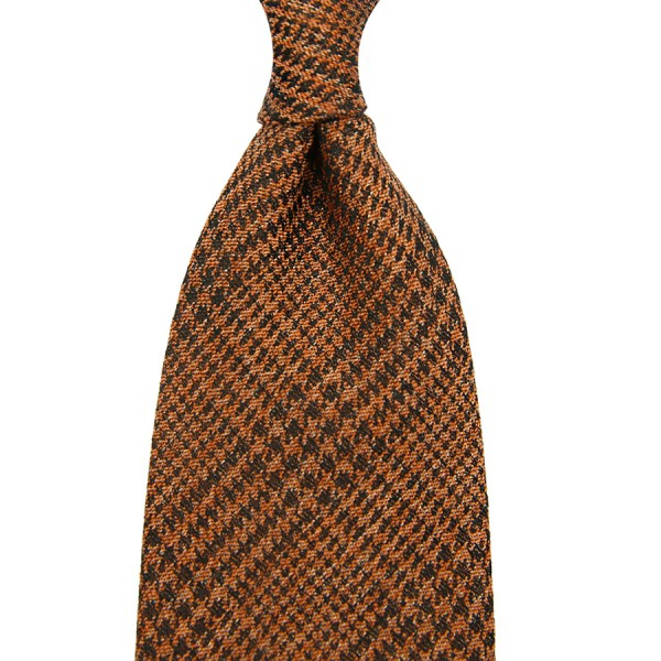 Glencheck Silk / Cotton Tie - Rust - Handrolled
