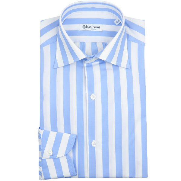 Poplin Semi Spread Shirt - White / Sky - Wide Stripe - Regular Fit