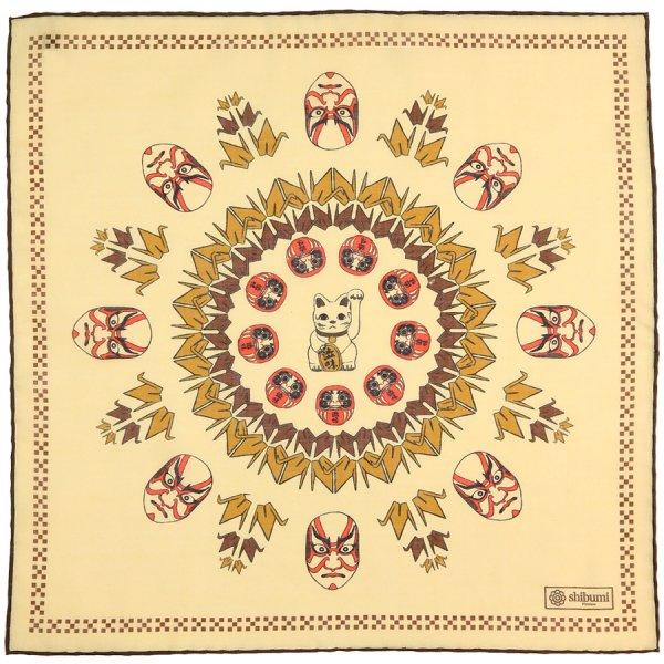 Fortune Printed Wool / Silk Pocket Square - Cream - 40x40cm