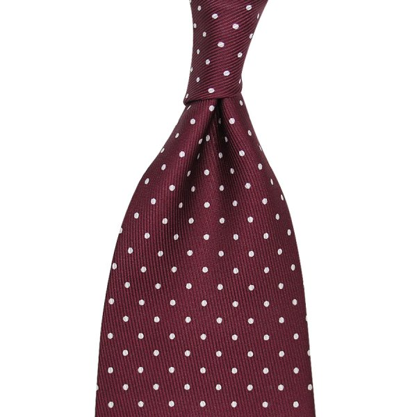 7-Fold Dotted 50oz Printed Silk Tie - Burgundy - Handrolled