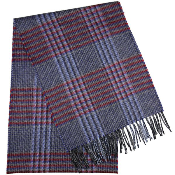 Checked Cashmere Scarf - Grey / Blue / Red