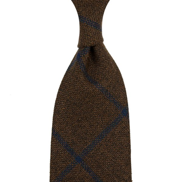 Checked Wool / Silk Tie - Chocolate - Hand-Rolled