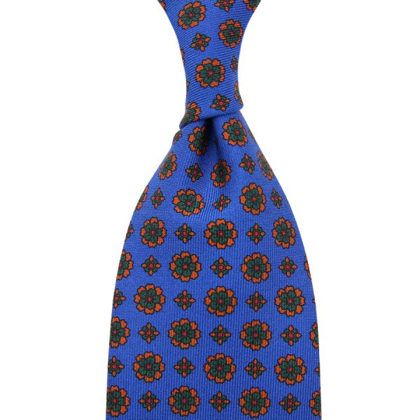 Ancient Madder Silk Tie - Madder Blue I - Hand-Rolled
