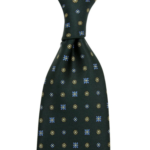 50oz Floral Printed Silk Tie - Madder Green - Hand-Rolled