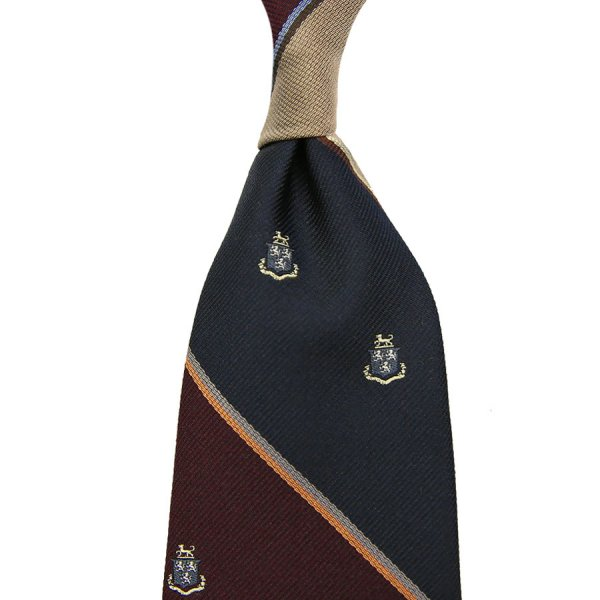 Crest Repp Silk Tie - Navy / Burgundy / Gold - Hand-Rolled