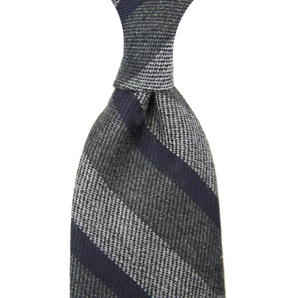 Striped Silk / Wool Tie - Grey - Hand-Rolled
