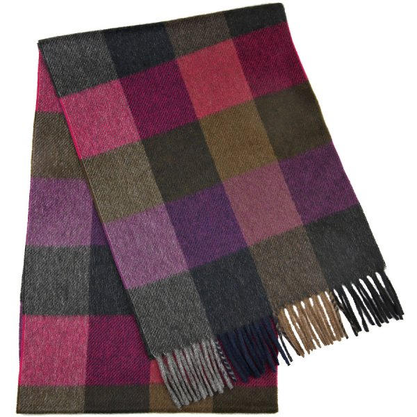 Checked Cashmere Scarf - Brown / Pink