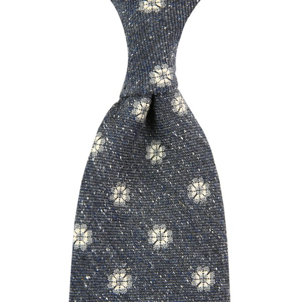 Floral Donegal Silk / Wool Tie - Grey - Handrolled