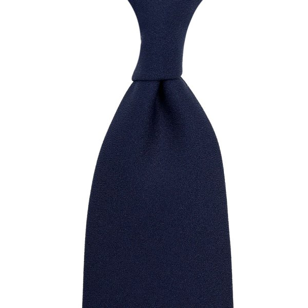 Plain Dyed Crepe Silk Tie - Navy - Hand-Rolled