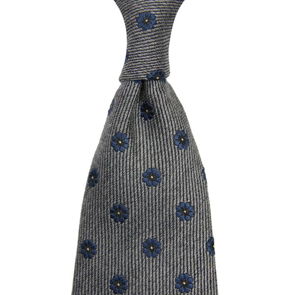 Floral Wool / Silk Tie - Grey - Hand-Rolled