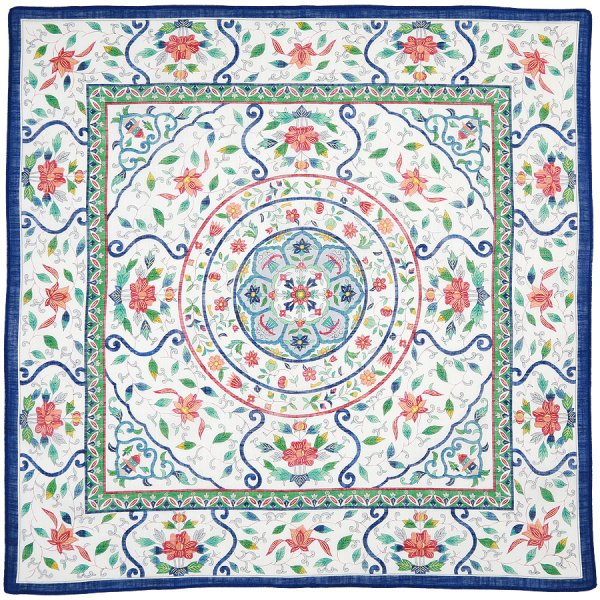 Cotton Handkerchief With Floral Motif - Blue I