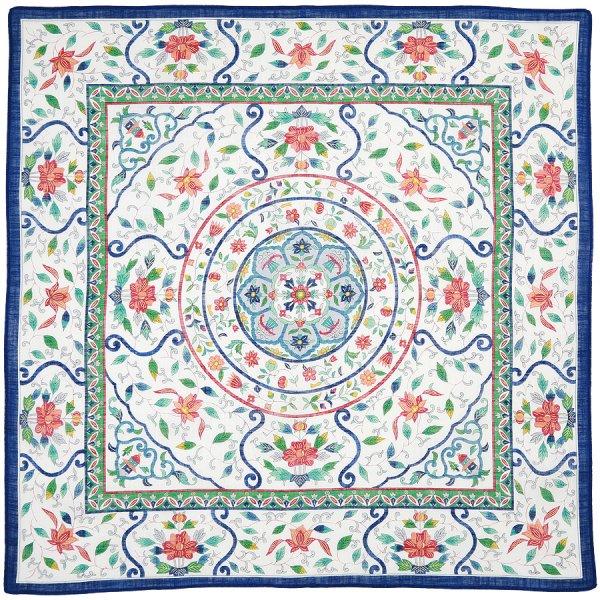 Cotton Handkerchief With Floral Motif - Blue I