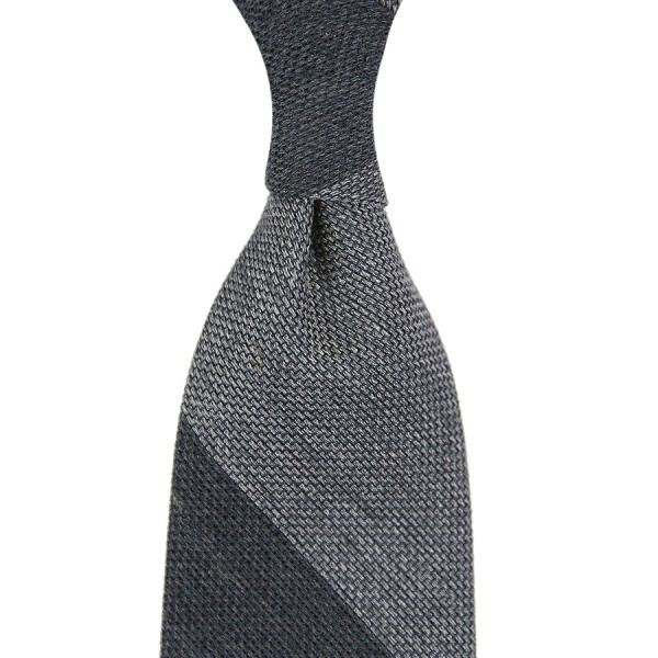 Block Stripe Silk / Wool Grenadine Tie - Charcoal / Grey - Handrolled
