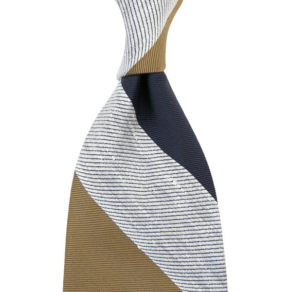 Triple Block Stripe Tussah Silk Tie - Navy / White / Beige - Hand-Rolled