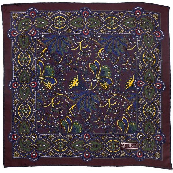 Paisley Printed Silk Pocket Square - Burgundy - 40x40cm