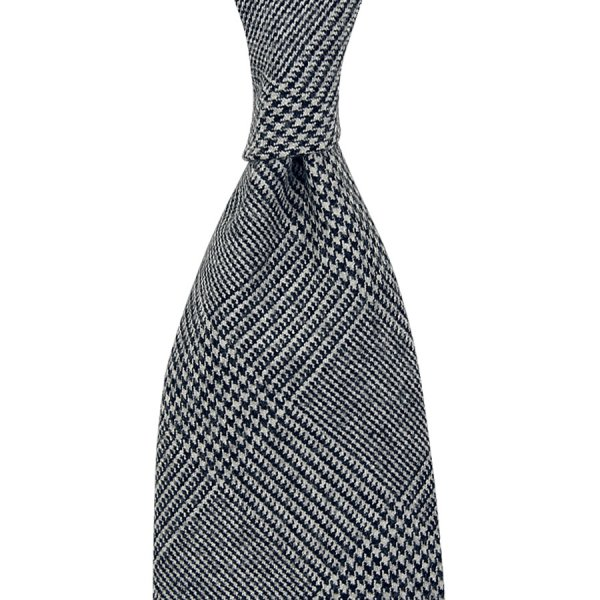 VBC Glencheck Wool Tie - Grey - Handrolled