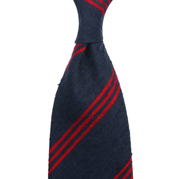 Triple Bar Shantung Silk Tie - Navy / Cherry - Hand-Rolled