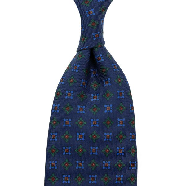 Ancient Madder Silk Tie - Navy IX - Hand-Rolled