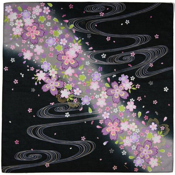 Kimono Motif Cotton Handkerchief - Black