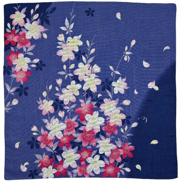 Floral Motif Cotton Handkerchief - Navy I
