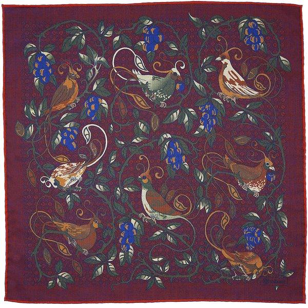 Animal Motif Wool / Silk Neckerchief - Burgundy - 60x60cm