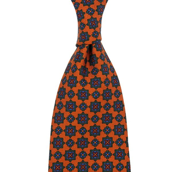 Ancient Madder Silk Tie - Terracotta VI - Hand-Rolled