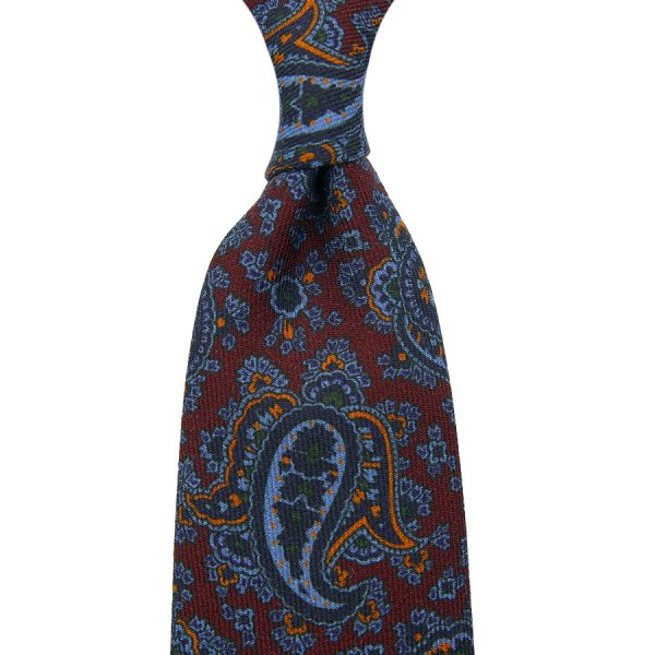 Paisley Printed Wool Challis - Burgundy - Self-Tipped