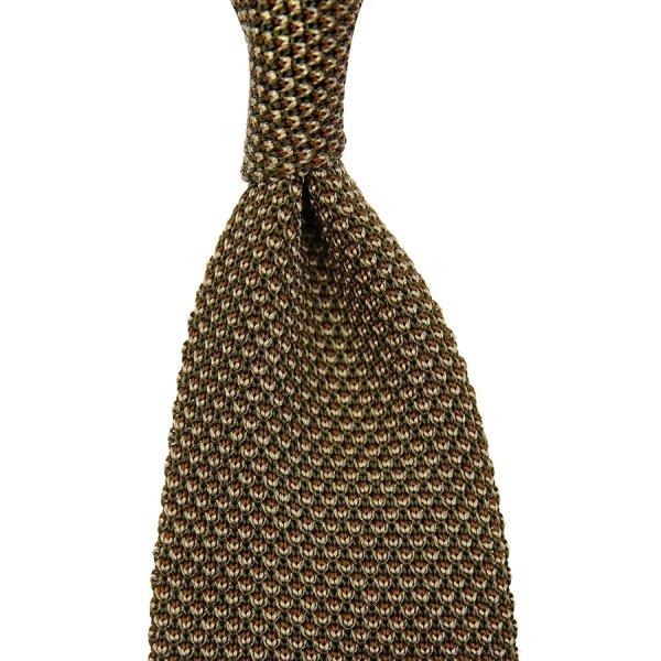 Birdseye Knit Tie - Olive - Silk